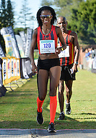 EAST LONDON, SOUTH AFRICA - FEBRUARY 20: Mapaseka Makhanya of Central Gauteng Athletics (CGA) finishes second during the ASA Marathon Championships in East London on February 20, 2015 in South Africa. (Photo by Roger Sedres/Gallo Images)