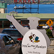 Inn at the Market valet parking sign, Pike Place Market, Seattle, Washington