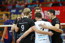 Players of Calcit Kamnik celebrate during volleyball match between Calcit Volleyball and ACH Volley in Round #4 of Finals of 1. DOL Slovenian Championship 2014/15, on April 23, 2015 in Sportna Dvorana, Kamnik, Slovenia. Photo by Matic Klansek Velej / Sportida