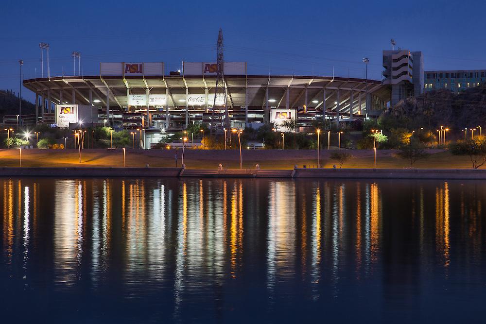 Sun Devil Stadium at night from across Tempe Town Lake, Arizona State University