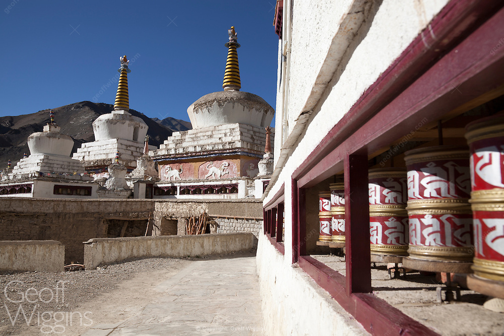 Buddhist prayer wheels and stupa at Lamayuru monastery, one of the largest and oldest gompas in Ladakh, Northern India