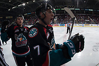 KELOWNA, CANADA - SEPTEMBER 22: Gordie Ballhorn #4 and Libor Zabransky #7 of the Kelowna Rockets skate to the bench to celebrate a goal against the Kamloops Blazers on September 22, 2017 at Prospera Place in Kelowna, British Columbia, Canada.  (Photo by Marissa Baecker/Shoot the Breeze)  *** Local Caption ***