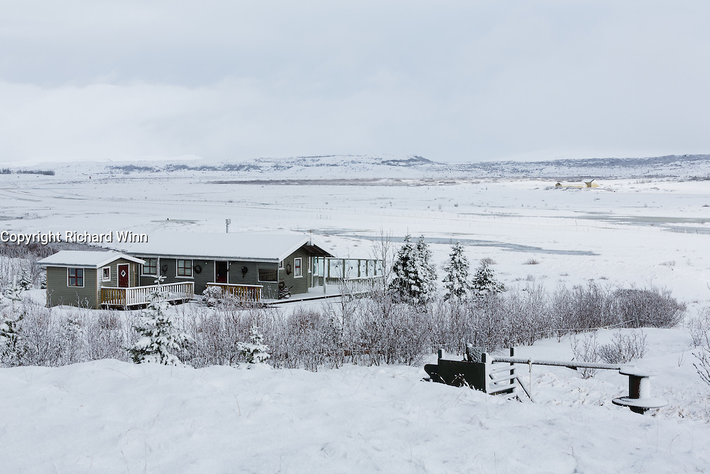 Looking East from Eyjasol Cottages in the snow.