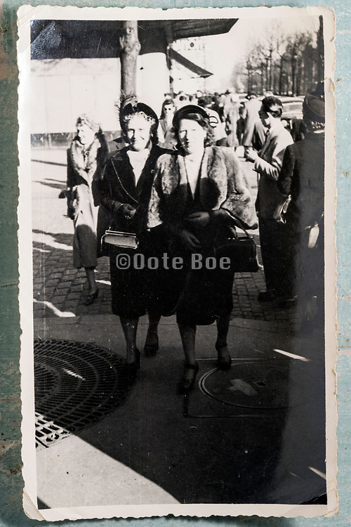 women friends walking in the street France 1953
