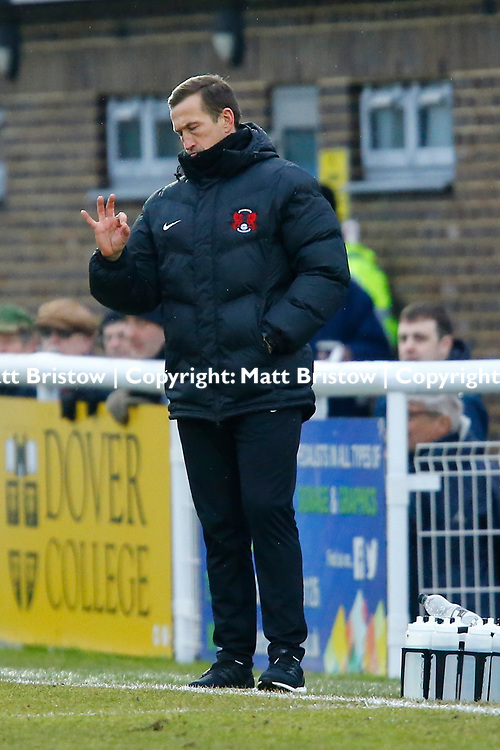 Leyton Orient's manager Justin Edinburgh during the The FA Trophy match between Dover Athletic and Leyton Orient at Crabble Stadium, Kent on 3 February 2018. Photo by Matt Bristow.