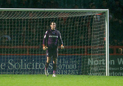 STEVENAGE, ENGLAND - Saturday, November 24, 2012: Tranmere Rovers' goalkeeper Owain Fon Williams looks dejected as Stevenage score an injury time equalising goal during the Football League One match at Broadhall Way. (Pic by David Rawcliffe/Propaganda)