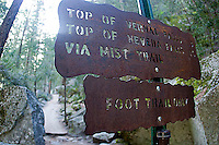 Trail sign for the John Muir Trail in Yosemite National Park, CA<br />
