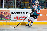 KELOWNA, CANADA - MARCH 5: Justin Kirkland #23 of the Kelowna Rockets warms up against the Spokane Chiefs on March 5, 2014 at Prospera Place in Kelowna, British Columbia, Canada.   (Photo by Marissa Baecker/Getty Images)  *** Local Caption *** Justin Kirkland;