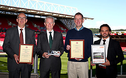 Martin Griffiths, Steve May and Tony Swindles receive an award as Ashton Gate wins a Building Control Award - Mandatory by-line: Robbie Stephenson/JMP - 01/08/2017 - FOOTBALL - Ashton Gate - Bristol, England - Ashton Gate Building Contol Award