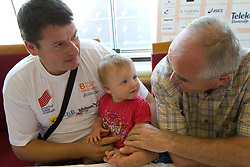 Andrej Hajnsek, his daughter Nina and Martin Steiner at arrival of team Slovenia at the end of European Athletics Championships Barcelona 2010 to Slovenia, on August 2, 2010 at Airport Joze Pucnik, Brnik, Slovenia. (Photo by Vid Ponikvar / Sportida)