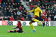 Philip Billing (29) of AFC Bournemouth challenges Andre Gray (18) of Watford during the Premier League match between Bournemouth and Watford at the Vitality Stadium, Bournemouth, England on 12 January 2020.