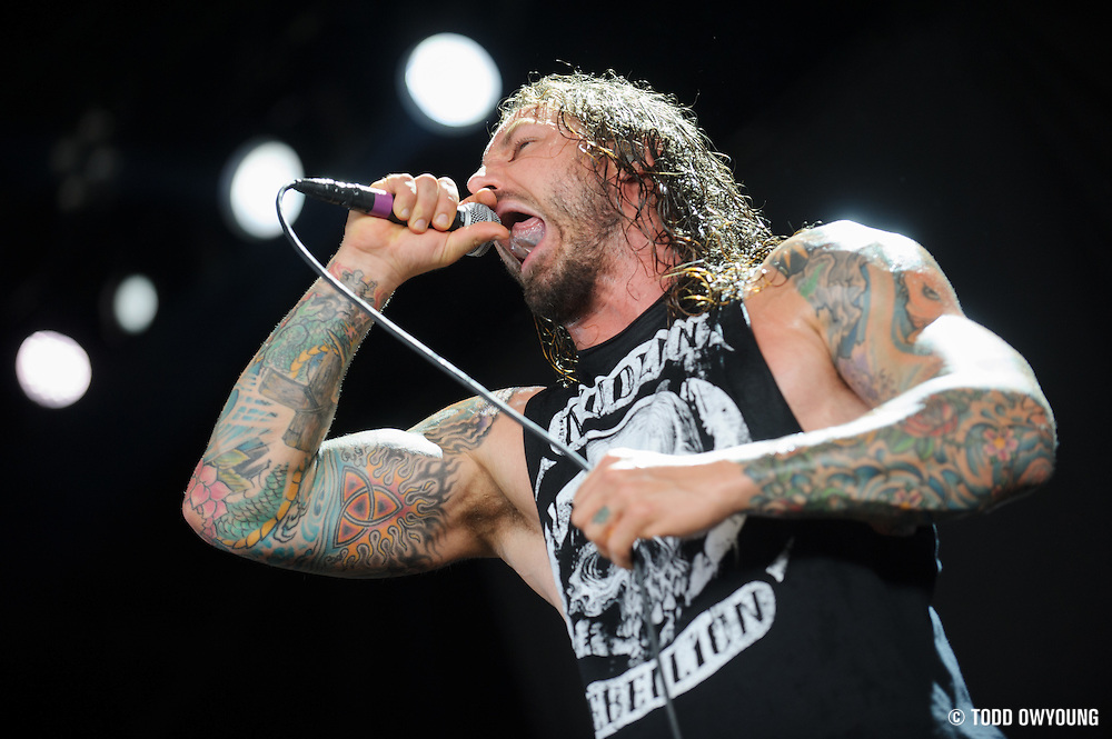 As I Lay Dying performing at Mayhem Fest 2012 at Verizon Wireless Amphitheater in St. Louis, Missouri on July 20, 2012.