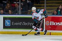 KELOWNA, BC - JANUARY 19: Lassi Thomson #2 of the Kelowna Rockets skate with the puck against the Prince Albert Raiders  at Prospera Place on January 19, 2019 in Kelowna, Canada. (Photo by Marissa Baecker/Getty Images)***Local Caption***