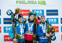 Second placed Antonin Guigonnat (FRA), winner Johannes  Thingnes Boe (NOR) and third placed Alexander Loginov (RUS) celebrate at medal ceremony after the Men 10km Sprint at day 6 of IBU Biathlon World Cup 2018/19 Pokljuka, on December 7, 2018 in Rudno polje, Pokljuka, Pokljuka, Slovenia. Photo by Vid Ponikvar / Sportida