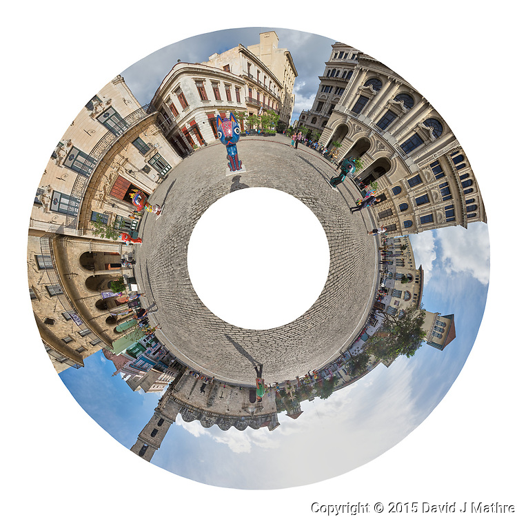 Little Planet View of Plaza de San Francisco. Composite of 45 images taken with a Fuji X-T1 camera and Zeiss 12 mm f/2.8 lens (ISO 200, 12 mm, f/16, 1/125 sec).