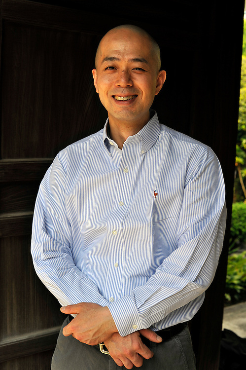 Japanese chef Junichi Watanabe who opened up the restaurant Hiroo Ichie after working in stocks for years...Mr Watanabe in front of a temple located close to his restaurant