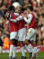 Photo: Olly Greenwood.<br />Arsenal v Tottenham Hotspur. The Barclays Premiership. 02/12/2006. Arsenal's Gilberto celebrates scoring from the penalty spot with fellow scorer Emmauel Adebayor