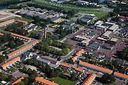 Nederland, Flevoland, Gemeente Dronten,  08-09-2009. .Biddinghuizen, dorp in Oostelijk Flevoland, in de dorpskern kerk De Voorhof. Het dorp stamt uit de jaren zestig van de vorige eeuw..Biddinghuizen, village in Eastern Flevoland, centre with church..luchtfoto (toeslag); aerial photo (additional fee required); .foto Siebe Swart / photo Siebe Swart
