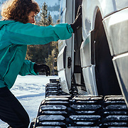 Kathy Perkes climbs aboard the Teton Science School's 4 x 4 Sprinter.
