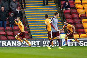 Motherwell FC Forward Louis Moult celebrates the opening goal during the Ladbrokes Scottish Premiership match between Motherwell and Heart of Midlothian at Fir Park, Motherwell, Scotland on 28 November 2015. Photo by Craig McAllister.