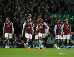 Aston Villa players look at each other after QPR equaliser - Photo mandatory by-line: Robbie Stephenson/JMP - Mobile: 07966 386802 - 07/04/2015 - SPORT - Football - Birmingham - Villa Park - Aston Villa v Queens Park Rangers - Barclays Premier League