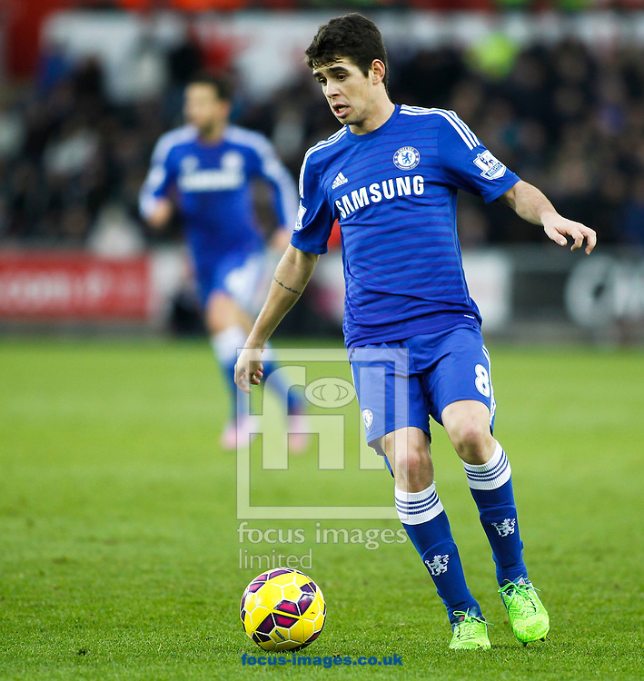 Oscar of Chelsea during the Barclays Premier League match at the Liberty Stadium, Swansea<br /> Picture by Mike Griffiths/Focus Images Ltd +44 7766 223933<br /> 17/01/2015