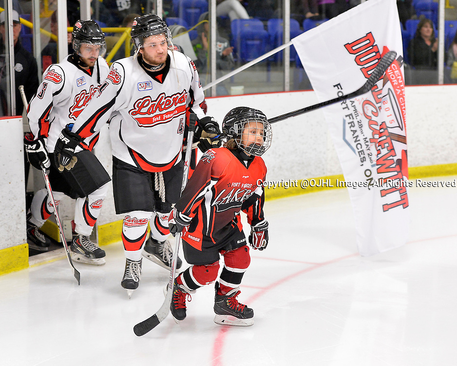 FORT FRANCES, ON - Apr 28, 2015 : Central Canadian Junior &quot;A&quot; Championship, game action between the Toronto Patriots and the Fort Frances Lakers, game two of the Dudley Hewitt Cup. Opening Ceremonies.<br /> (Photo by Shawn Muir / OJHL Images)