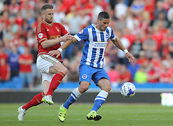 Tomer Hemed of Brighton & Hove Albion and Matthew Mills of Nottingham Forest challenge for the ball - Mandatory byline: Paul Terry/JMP - 07966386802 - 07/08/2015 - FOOTBALL - Falmer Stadium -Brighton,England - Brighton v Nottingham Forest - Sky Bet Championship