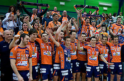 Team ACH Volley celebrate at last final volleyball match between OK ACH Volley and Salonit Anhovo, on April 21, 2009, in Arena SGS Radovljica, Slovenia. ACH Volley won the match 3:0 and became Slovenian Champion. (Photo by Vid Ponikvar / Sportida)
