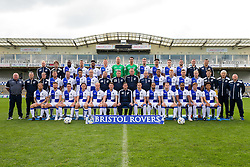 Bristol Rovers Home Kit Team Photo 2016/17<br /> <br /> Third Row: Luke Almond (Sports Therapist), Mike Booy (Sports Scientist), Hiram Boateng, Lee Brown, Ellis Harrison, Alfie Kilgour, Steve Mildenhall, Kelle Roos, Chris Lines, Tom Lockyer, Peter Hartley, Dominic Thomas, Enda Barron (Video Analyst)Tim Button (Chiropractor)<br /> <br /> Second Row: Lee Mansell, Daniel Leadbitter, Liam Lawrence,  Mark McChrystal, Marcus Stewart, Chris Hargreaves, Stuart Naylor, Steve Yates, Cristian Montano, Rory Gaffney, James Clarke, Danny Greenslade, <br /> <br /> Front Row: Stuart Sinclair, Matty Taylor, Connor Roberts, Charlie Colkett, Ryan Broom, Ollie Clarke, Darrell Clarke, Billy Bodin, Byron Moore, Jay Malpas, Jermaine Easter, Luke James, Tyler Lyttle<br /> <br /> Standing Left: Tom Foley (Assistant Kit Manager), Keith Graham (Head of Medical Services), Sarah Carr (Sports Therapist)<br /> <br /> Standing Right: Marco Carota (Kit Manager), Dan Nesbitt (Strength & Conditioning Coach), Keith Brookman (Head of Media) <br /> <br /> - Rogan Thomson/JMP - 13/10/2016 - FOOTBALL - Memorial Stadium - Bristol, England.