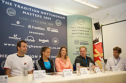 NOTTINGHAM, ENGLAND - Saturday, June 13, 2009: L-R:Greg Rusedski (GBR), Laura Robson (GBR), Olga Savchuk (UKR), COO of Tradition David Pinchin and Tournament Director Anders Borg during a press conference on day three of the Tradition Nottingham Masters tennis event at the Nottingham Tennis Centre. (Pic by David Rawcliffe/Propaganda)