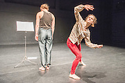 26/11/2015. London, UK. The world premiere of Nora is the coming together of dancers Eleanor Sikorski and Flora Wellesley Wesley at Sadler's Wells Lilian Baylis Studio from Thursday 26 November. In their first collaborative endeavour they perform an evening of new works by Liz Aggiss, acclaimed duo Jonathan Burrows and Matteo Fargion, and up and coming French choreographer Simon Tanguy. Picture features Eleanor and Flora Music, choregraphed by Jonathan Burrows and Matteo Fargion.