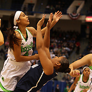 Skylar Diggins, Notre Dame, is called for an offensive foul on Kaleena Mosqueda-Lewis, Connecticut, during the Connecticut V Notre Dame Final match won by Notre Dame during the Big East Conference, 2013 Women's Basketball Championships at the XL Center, Hartford, Connecticut, USA. 11th March. Photo Tim Clayton