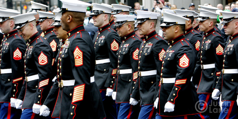 A group of United States Marines march in the 246th annual St. Patrick's Day parade in New York, New York on Saturday 17 March 2007. The annual event is the largest St. Patrick's Day Parade in the world.