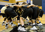 The Colony huddles up before tipoff against Frisco Wakeland at Little Elm High School on Friday, February 8, 2013 in Little Elm, Texas. (Cooper Neill/The Dallas Morning News)