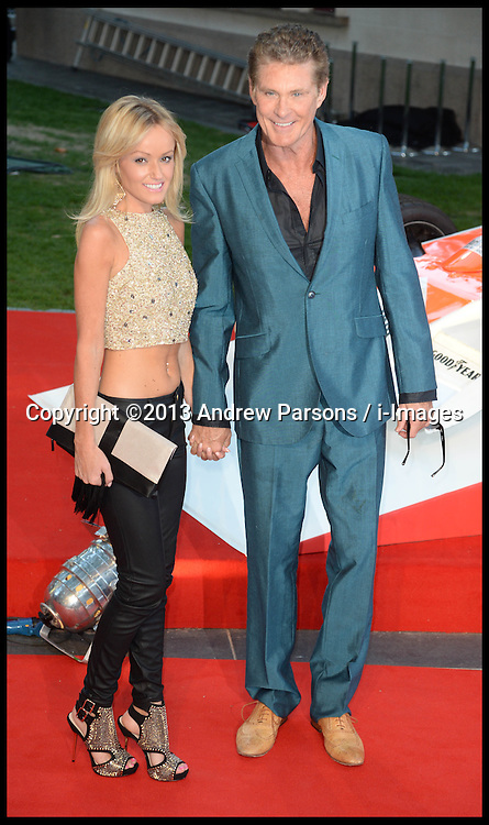 Rush - UK film premiere. <br /> Hayley Roberts and  David Hasselhof during the 'Rush' - UK film premiere, Odeon, London, United Kingdom. Monday, 2nd September 2013. Picture by Andrew Parsons / i-Images