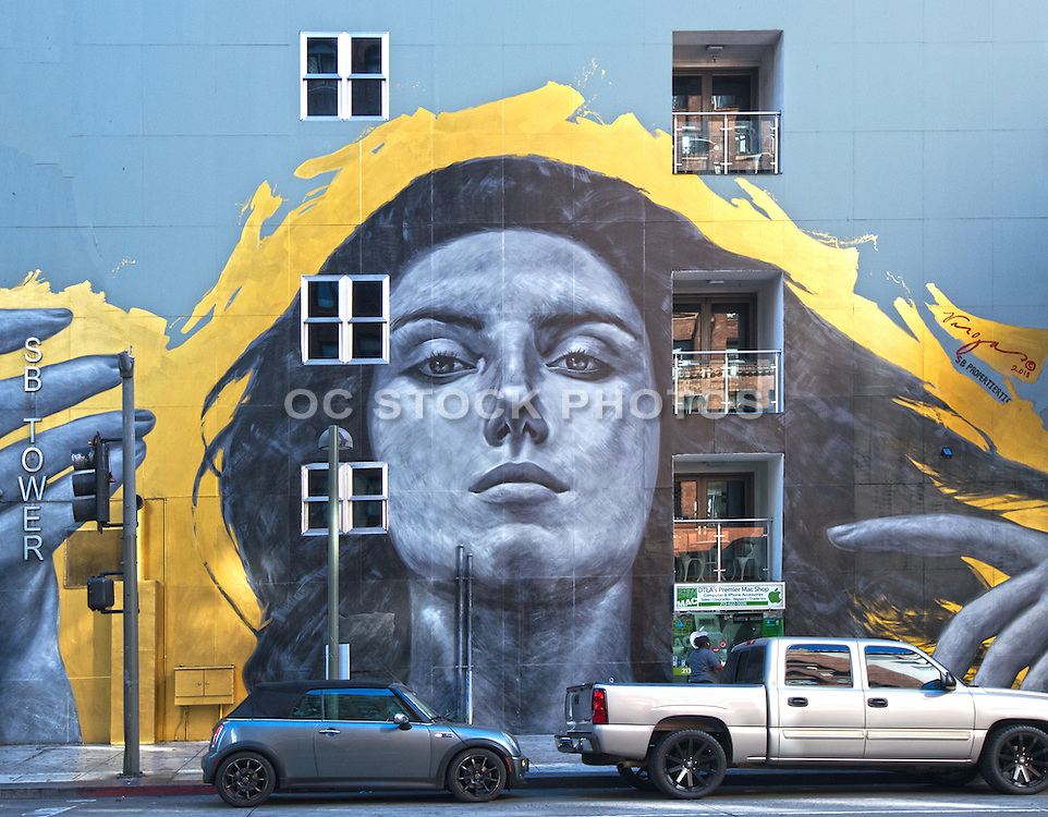 Robert Vargas Mural on the SB Tower Building in Downtown Los Angeles