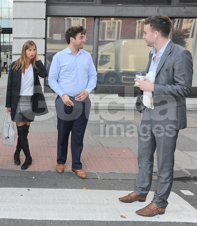 TOWIE stars Ferne McCann and James Argent leaving BBC Radio 1 in central London, UK. 03/10/2014<br />