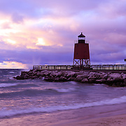 &quot;Charlevoix Sunset&quot;<br /> <br /> Beautiful Lake Michigan sunset at the Charlevoix lighthouse!!<br /> <br /> Sunset Images by Rachel Cohen
