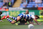 Brighton & Hove Albion's defender Liam Rosenior (23) denies Reading defender John Swift (8) during the EFL Sky Bet Championship match between Reading and Brighton and Hove Albion at the Madejski Stadium, Reading, England on 20 August 2016.