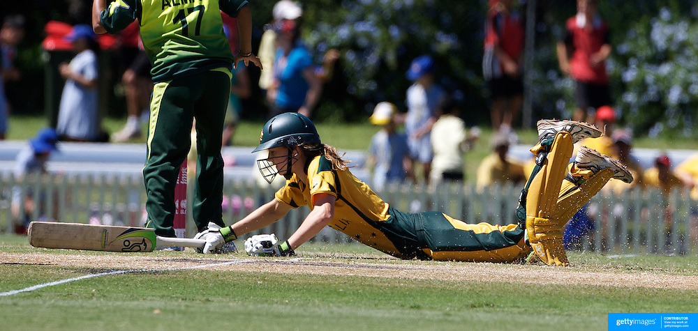 Ellyse Perry makes her ground to avoid a run out  during the match between Australia and Pakistan in the Super 6 stage of the ICC Women's World Cup Cricket tournament at Bankstown Oval, Sydney, Australia on March 16 2009, Australia won the match by 107 runs. Photo Tim Clayton