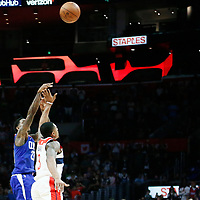 09 December 2017: LA Clippers guard Lou Williams (23) game winner jump shot over Washington Wizards guard Bradley Beal (3) during the LA Clippers 113-112 victory over the Washington Wizards, at the Staples Center, Los Angeles, California, USA.