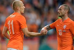 04-06-2014 NED: Vriendschappelijk Nederland - Wales, Amsterdam<br /> Nederland wint met 2-0 van Wales / Arjen Robben scoort de 1-0 en Wesley Sneijder