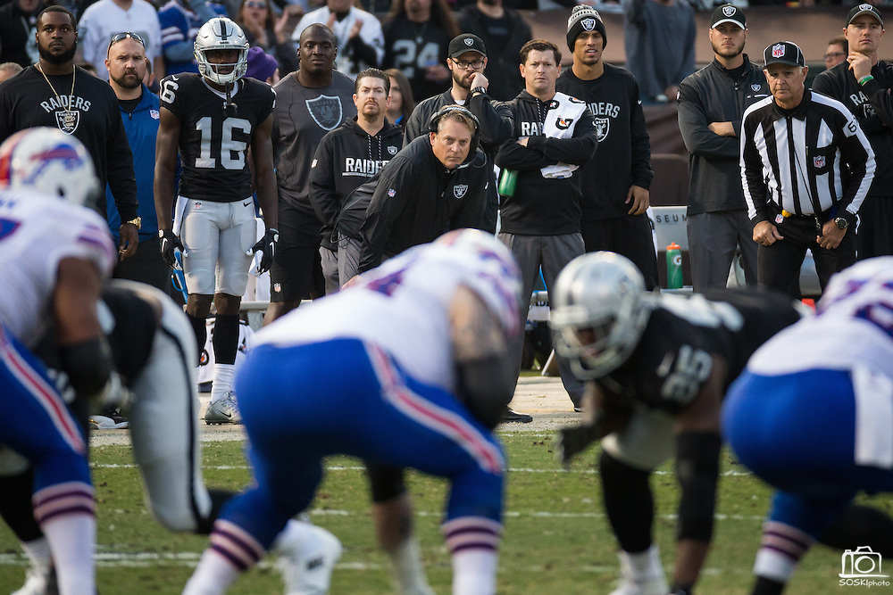 Oakland Raiders head coach Jack Del Rio watches as his Oakland Raiders take on the Buffalo Bills at Oakland Coliseum in Oakland, Calif., on December 4, 2016. (Stan Olszewski/Special to S.F. Examiner)