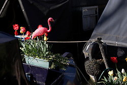 UK ENGLAND LONDON 2MAY16 - Red flamingo on the bow of a London Canal boat at Blomfield Road moorings in Little Venice, Maida Vale, west London.<br /> <br /> jre/Photo by Jiri Rezac<br /> <br /> © Jiri Rezac 2016