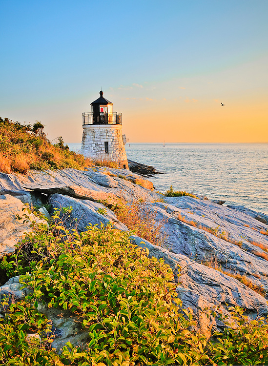 Castle Hill Lighthouse just before twilight, Newport, Rhode Island, USA