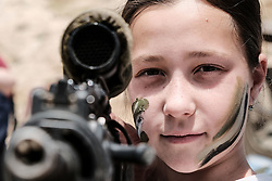 April 19, 2018 - Maale Adumim, Israel - Israeli families experience military weapons and equipment during celebrations marking Israel's 70th Independence Day at an IDF exhibition near Maale Adumim. (Credit Image: © Nir Alon via ZUMA Wire)