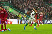 Celtics Mohamed Elyounoussi celebrates his goal during the Europa League match between Celtic and CFR Cluj at Celtic Park, Glasgow, Scotland on 3 October 2019.