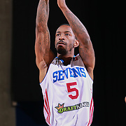 Delaware 87ers Guard RUSS SMITH (5) shoots a free-throw in the first half of a NBA D-league regular season basketball game between the Delaware 87ers and the Canton Charge Tuesday, JAN, 26, 2016 at The Bob Carpenter Sports Convocation Center in Newark, DEL.