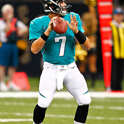 August 17, 2012; New Orleans, LA, USA; Jacksonville Jaguars quarterback Chad Henne (7) against the New Orleans Saints during the second half of a preseason game at the Mercedes-Benz Superdome. The Jaguars defeated the Saints 27-24.  Mandatory Credit: Derick E. Hingle-US PRESSWIRE